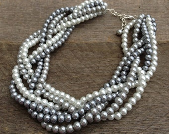 Silver White Pearl Necklace Statement Grey Bridal Necklace Braided Cluster on Silver Chain