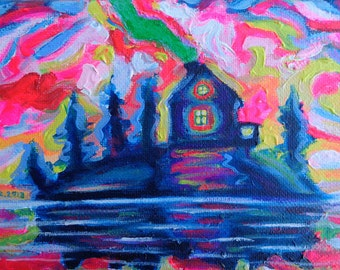 ORIGINAL Acrylic Painting, The Haunted Cabin, 5x7 Colorful Island and Sky Art