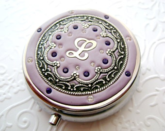 Custom Personalized Pill box/ Mint Box, lip gloss container with Swarovski Crystals and Silver-tone Filigree-Pick the Color and Letter