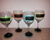 Custom Chalkboard Wine Glasses Set of 4
