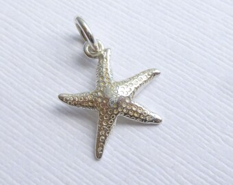 Sterling Silver Starfish Charm -- 1 Piece -- Textured 925 Sterling Star Fish Pendant
