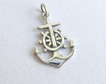 Sterling Silver Anchor with Nautical Wheel Charm -- 1 Piece -- Sterling Pendant