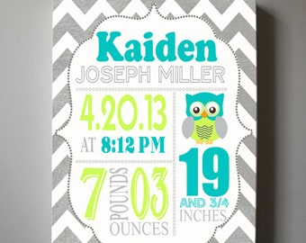 "Baby Birth Announcement Canvas Print 10"" x12"" ,Boys Nursery Canvas Art , Personalized Wall Hanging, Boys Room Decor, Owl"