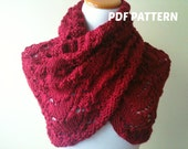 PDF KNITTING PATTERN - I Give You My Heart Cowl - Knit Red - Stitch Red - Romantic - Infinity Scarf