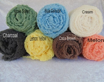 Newborn Photography Hand Dyed. Cheesecloth wraps.. Set of seven