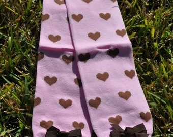 Pink and brown hearts leg Warmers