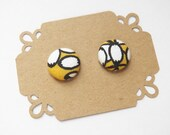 Fabric Button Earring Stud - Black White Yellow Floral - Button Earrings - Hypoallergenic Earrings
