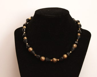 Black & Gold Glass Necklace