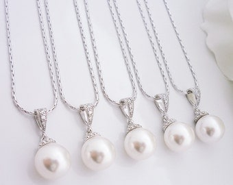 SET of 6 Bridesmaid Gift Bridesmaid Jewelry Wedding Jewelry Bridal Jewelry White OR Cream Swarovski Round Pearl Drop Necklace 15% OFF
