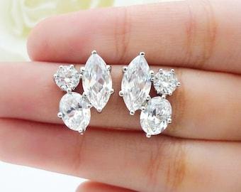 Wedding Jewelry Bridesmaid Gift Bridesmaid Jewelry Bridal Earrings Three Shape Clear White Cubic Zirconia Ear Post Stud Earrings Sterling