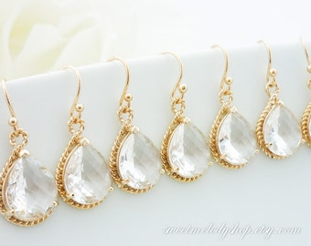 15% OFF SET of 8 Wedding Jewelry Bridesmaid Gift Bridal Earrings Clear Crystal Gold Trimmed Pear Tear Drop Earrings Framed Dangle Earrings