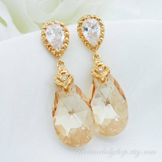 Items similar to wedding jewelry bridesmaid gift bridal for Jewelry for champagne wedding dress