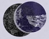 Astronomy Print  Lunar Landscape Vintage Image