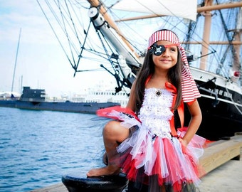 Pirate Costume, Pirate Tutu, Captain Hook, Peter Pan, Skull and Bones, Pirate Birthday, Outfit of Choice, Halloween Tutu Costume