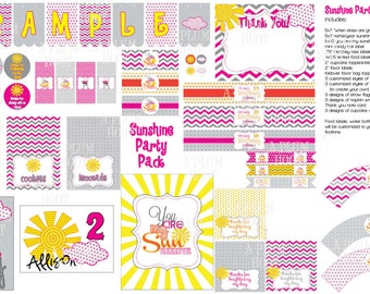 You are My Sunshine Party Pack (DIY, Printable) Banner, Food Labels, Cupcake Toppers, Printable and More