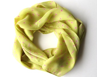 90s Fluorescent Lime Green Scarf Pink Floral