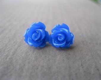 Cobalt Blue Rose Stud Earrings - Sterling Silver Posts