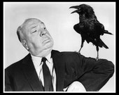 Fridge Magnet image of Alfred Hitchcock with Black bird raven crow The Birds