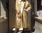 Gold Vinyl Military Trench Coat
