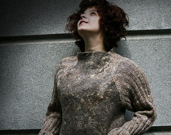 Eco style and boho chic Plus Size felted sweater from natural silk and fine wool (with hand knitted fragments and embroidery) OOAK -to order