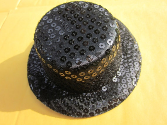 1pcs black sequin mini top hats craft making fascinator for Small alligator clips for crafts