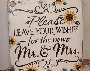 Guest Book/Please Leave Your Wishes For the New MR and MRS/Wedding Sign/Sunflower/Vineyard/Rustic/Autumn Wedding