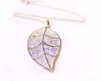 Large Sterling Silver Leaf Charm Everyday Modern Necklace / Gift for Her