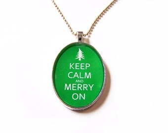 Keep Calm and Merry On Christmas Stocking Stuffer Sterling Silver Necklace / Gift for Her