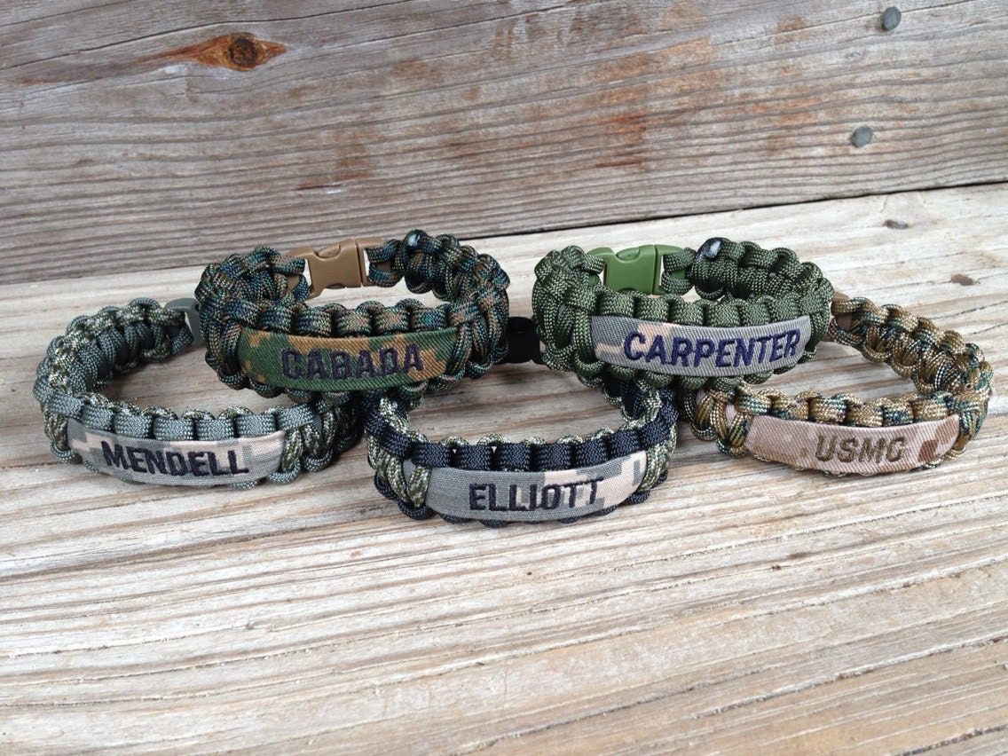 Custom Paracord Bracelet With Name Tape Army By