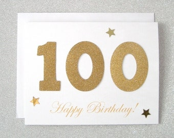 100th Birthday Card, 100th Milestone Birthday Card, 100th Milestone Greeting Card,  One Hundredth Milestone Birthday Card, Turning 100