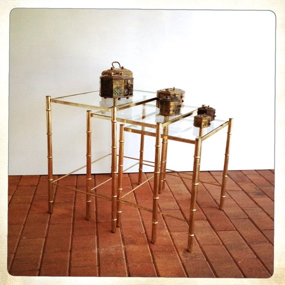 Vintage brass faux bamboo nesting tables gold glass top for Glass top nesting tables