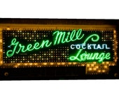 Chicago photography, wall art, green, photo, Green Mill, Green, Canvas print, photography, home decor, Chicago art, Jazz, neon