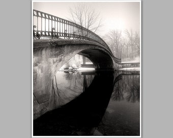 Black And White Photography, Foot Bridge, Elizabeth Park, Trenton Mighigan, Fine Art Photograph.