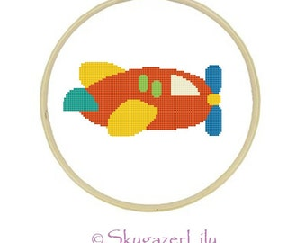 Instant Download Cross Stitch Pattern - Red Airplane - Beginners Printable PDF
