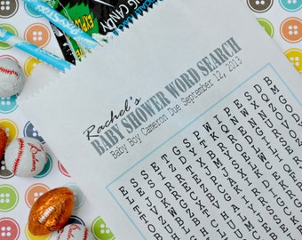 Blue Baby Shower Goodie Bags: 20 Personalized Word Search Shower Game
