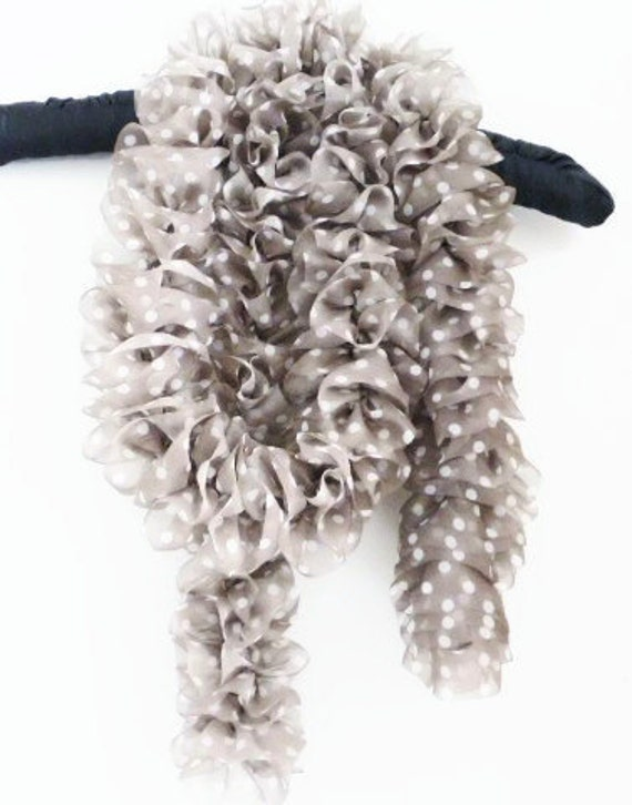 Polka dot taupe scarf, white spots on taupe tulle fabric hand knit frilled scarf, UK shop