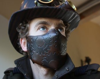 steampunk leather mask, cog rebreather, made to order