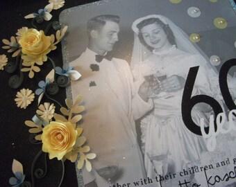 Framed Wedding Anniversary Keepsake / Wedding Picture Frame / 60th Wedding Anniversary Gift / Anniversary Gift / Anniversary Frame