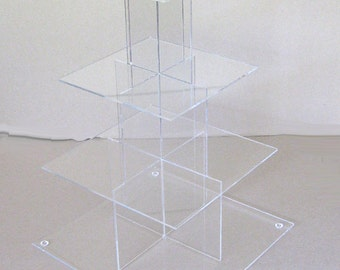 "4 tier Square Cupcake Stand, clear cupcake stand, wedding cake stand - 8""x8"", 10""x10"", 12""x12"", 14""x14"" shelves"