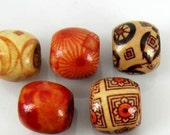 Assorted Large Painted Wood Beads 12x11mm *50pcs in Pack - FREE USA Shipping