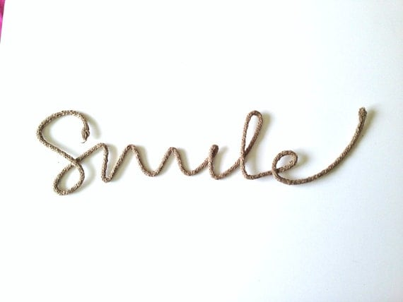 """Items similar to cursive """"Smile"""" word rustic yarn wrapped ..."""