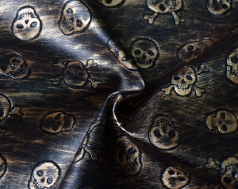 New Design,Half Yard Vintage Skull Embossed Pu Leather,Skeleton Embossed Faux Leather For Bags Making,Purses Fabric,Pleather,Craft Supplies