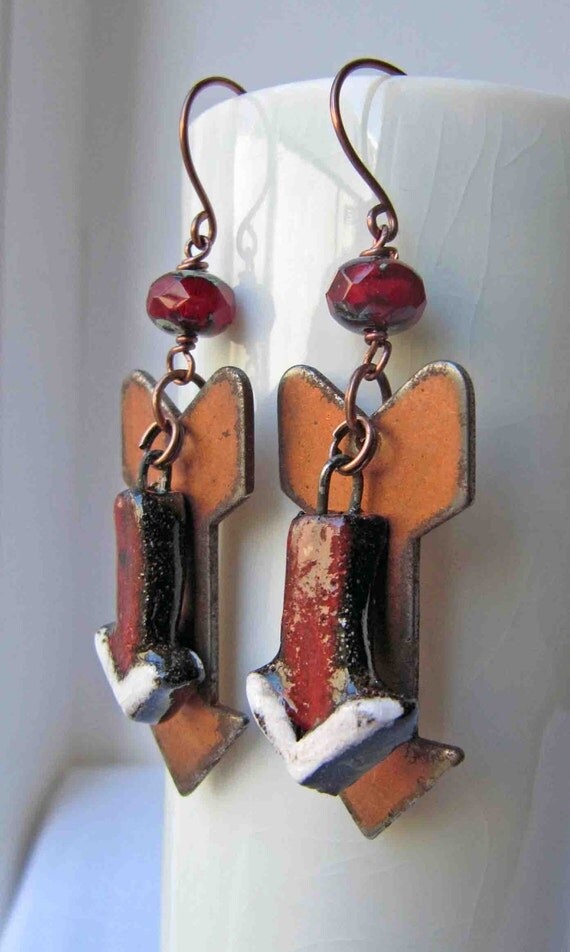 This way - handmade earrings, beaded earrings, art bead earrings, arrow earrings