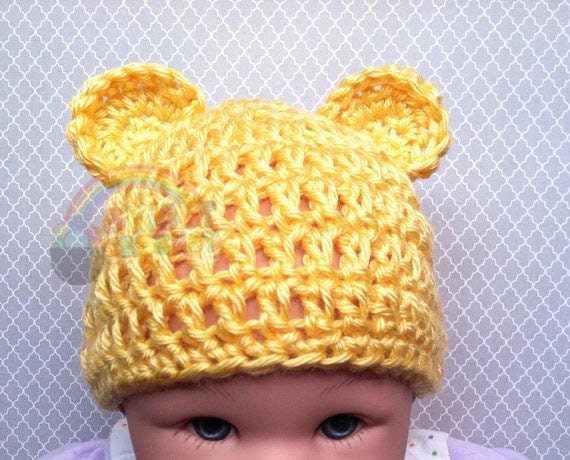 Crochet Pooh Bear Hat Pattern : Items similar to Baby Winnie the Pooh Bear Crochet Hat on Etsy