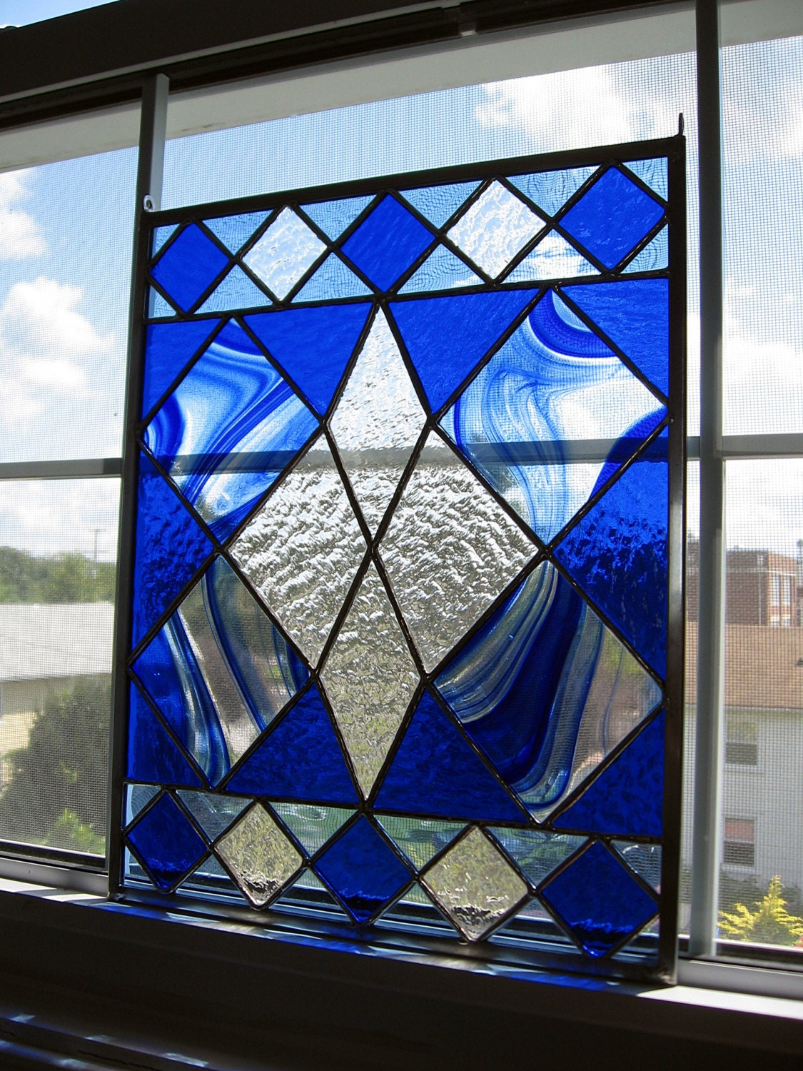 Geometric Stained Glass Window Panel Blue by ...