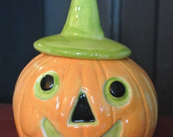 Halloween vintage style clay Witch hat Jack O Lantern jar