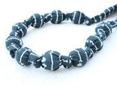 ORGANIC Fabric Statement Necklace,Teething Necklace, Chomping Necklace, Nursing Necklace - Grey Bone Stripe