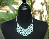 Lightweight Mint Bead Work Statement Necklace, MintCollar Necklace