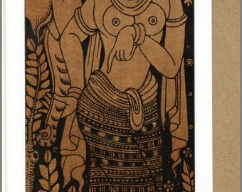 Thai traditional art Lanna by printing on Sepia paper card_a