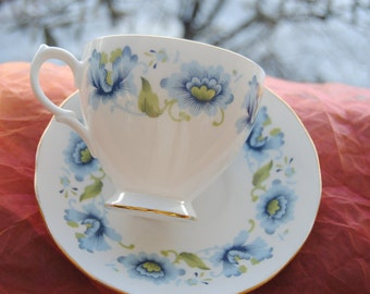 Vintage Queen Anne, Cup & Saucer - England, Blue Flowers, Fine Bone China - Gorgeous!